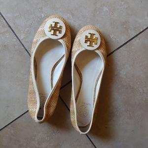 Tory Burch Reva Raffia Straw Flats Gold White 8